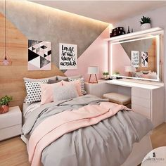 Pink white and grey girl s bedroom pastel bedroom decor inspiration small Bedroom Pastel Bedroom, Pink Bedroom Decor, Small Room Bedroom, Bedroom Vintage, Trendy Bedroom, Bedroom Themes, Bedroom Wall, Diy Bedroom, Bedroom Lamps