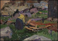 """""""Woman Gathering Wood,"""" Frederick Horsman Varley, oil on panel, 9 1/4 x 13"""", private collection."""