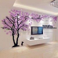 Buy Creative Tree 3D Stereo Acrylic Wall Sticker Living Room Sofa TV Background Wall Interior Room Warm Decoration at Wish - Shopping Made Fun