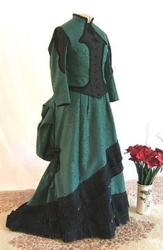 Victorian Dress in Green and Black/Victorian Tea Dress/SASS Victorian Reenactor Day Dress Victorian Gown, Bustle Dress, Steampunk Fashion, Day Dresses, Costume Ideas, Benefit, Ball Gowns, Miniature, Women Wear