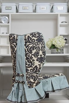 Custom slipcover. Love this color texture combination!