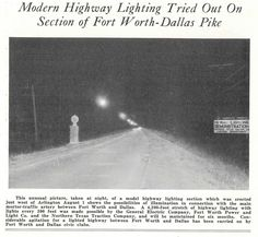 "D-FW ""Pike"" lighting Demo on the Bankhead Highway west of Arlington. Arlington Texas, James Madison, Texas History, Fort Worth, Dallas, Lighting, Vintage, Light Fixtures, Lights"