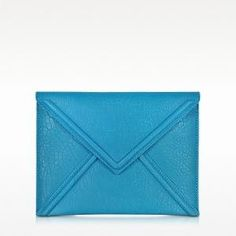 50% off McQ by Alexander McQueen - Leather Envelope Clutch Bubble Turquoise Blue - $207.50