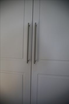 Fitted wardrobes doors in Santana design. Installation by Day and Knight for bedroom Grey Fitted Wardrobes, Fitted Wardrobe Doors, Bespoke Furniture, French Door Refrigerator, House Rooms, Armoire, Knight, Locker Storage, Kitchen Appliances