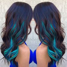 Turquoise & Blue peek-a-boo dyed hair