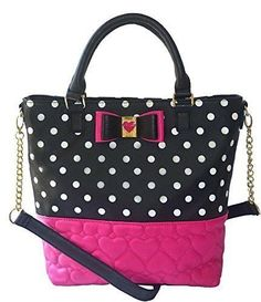 Betsey Johnson BE My Honey BUNS NS TOTE BM17090 FUS/BLK Quilted Hearts Polka Dot #BetseyJohnson #TotesShoppers