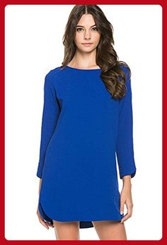 Shopglamla Curved Hem Long Sleeve Shift Dress Royal Blue M - All about  women (  ecdac4f3f8c8