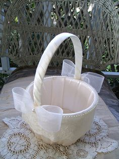 Wedding Flower Girl Basket OPAL Handmade by RoseGardenStitches