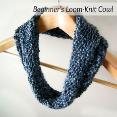 Loom Knit - Beginners Cowl.  Done on 40/41 peg round loom using Homespun yarn.