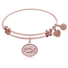Expandable Bangle in Pink Tone Brass with Christian Fish Ichthys Symbol