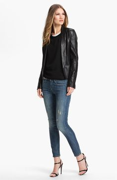 Vince Blazer, Tee & Skinny Jeans  available at #Nordstrom