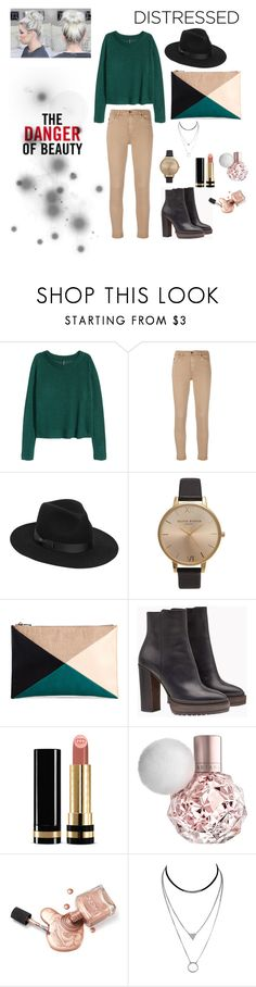 """""""Green sweater"""" by fatima-263 ❤ liked on Polyvore featuring H&M, AG Adriano Goldschmied, Lack of Color, Olivia Burton, Sole Society, Brunello Cucinelli and Gucci"""