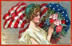 """Vintage Memorial Day postcards: """"May thy sweet blossom never cease to bloom in love and trust and peace."""""""