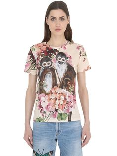 Gucci bloom and monkeys printed jersey T-shirt