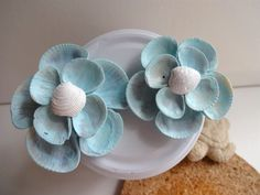 Handmade Seashell Flower Magnets  Set of 2  Painted by CoralHome