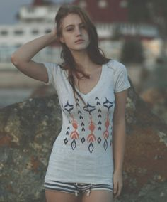 Ikat Love Deep V Neck Tee Oatmeal by PrintedPalette on Etsy, $22.00