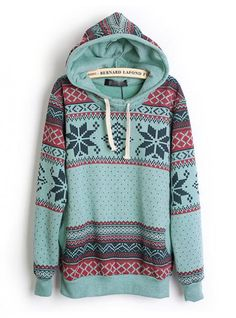 Hooded Geometric Blue Sweatshirts$42.00