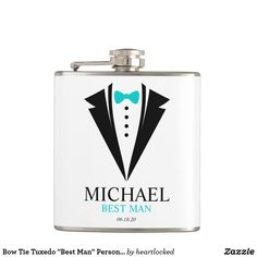"""Bow Tie Tuxedo """"Best Man"""" Personalized Flask Father Of The Bride, Tuxedo Wedding, Groomsmen, Flask, Wedding Party Favors, Monogram Wedding, Bows, Michael Best, Unique Gifts"""