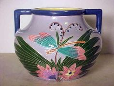 LARGE EXCEPTIONAL ART DECO EICHWALD CZECH POTTERY VASE WITH DRAGONFLY