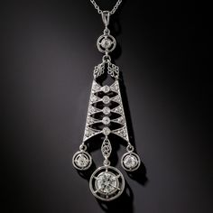Antique Platinum and Diamond Lavaliere
