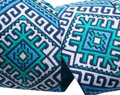 Blue and Aqua Camel Blanket by Amy Butler
