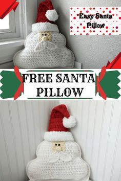 Santa Claus Crochet Pillow pattern, Diy And Crafts, This crochet Santa Clause pillow will even make the big guy envious. Pattern also comes with written & video instruction. This is an easy to intermedi. Crochet Santa, Bag Crochet, Crochet Home, Crochet Gifts, Free Crochet, Crochet Angels, Crochet Fall, Crochet Christmas Gifts, Christmas Crochet Patterns