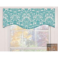 @Overstock - A bold turquoise damask print pops against the white background of this M-shaped valance from Victor. This valance features 100-percent cotton construction with a 3-inch rod pocket.http://www.overstock.com/Home-Garden/Turquoise-Damask-Cotton-M-shaped-Valance/5814922/product.html?CID=214117 $32.99