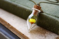 My Little Blossoming Daisy - Yellow Flower Glass Vial Terrarium Necklace - Romantic, Unique Jewelry