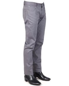 BILLY // LIGHT GREY 17:  100% Cotton Denim jeans with a a low waist, roomy seat and thigh. The Billy has a tapered leg and just a hint of stretch built in. The high-quality raw denim, dyed-to-match stitching and chrome plated rivets give these jeans durability and a sleek look.
