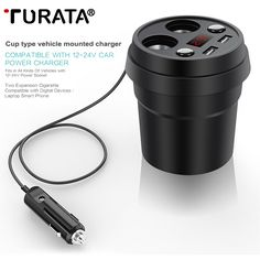 Car Charger 2 USB DC/5V 3.1A Cup Power Socket Adapter Cigarette Lighter Splitter Mobile Phone Chargers With Voltage LED Display