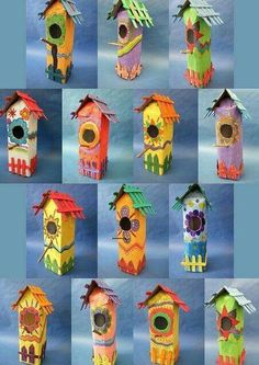 Vogelhuisjes van melkpakken **idea to remember--use milk cartons in the spring to make these birdhouses:) Kids Crafts, Summer Crafts, Projects For Kids, Diy For Kids, Art Projects, Diy And Crafts, Arts And Crafts, Paper Crafts, Spring Art
