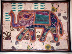 HANDMADE ELEPHANT BOHEMIAN PATCHWORK WALL HANGING EMBROIDERED TAPESTRY INDIA X15…