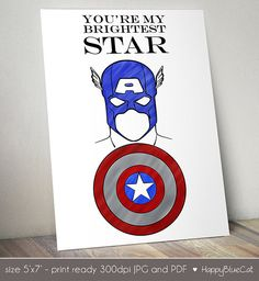 Captain America Valentines Day Card - 5x7 inch Printable - Instant Download - You're My Brightest Star