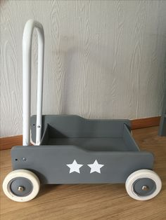 Brio walkin trolly (toddler wobbler) spraypainted grey with star stickers