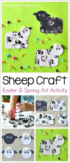Cool Sheep Craft for Kids using stamping and tissue paper! Perfect for spring and Easter! ~ BuggyandBuddy.com