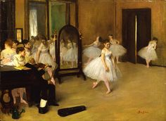 Artists in 60 Seconds: Edgar Degas (Hilaire-Germain-Edgar de Gas): Hilaire-Germain-Edgar Degas (French, 1834-1917). The Dancing Class, probably 1871. Oil on wood. 7 3/4 x 10 5/8 in. (19.7 x 27 cm). H. O. Havermeyer Collection, Bequest of Mrs. H.O. Havermeyer, 1929.