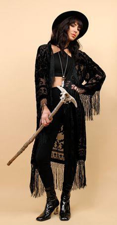 70s Does 20s Vtg Black Kimono Duster Coat / Long Fringe Jacket / SILK + Velvet Burnout Deco GOTH Witchy Sheer / Boho Gypsy / OSFM