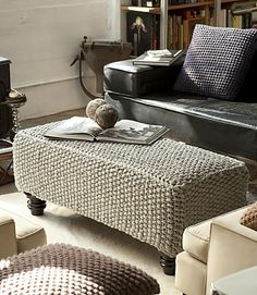 Inspiration: Knitted ottoman and pillow covers.