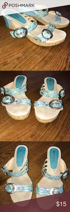 Two Lips Wedges Used but still in good condition. Floral print with buckles. 2 inch wedges. Size 10M. Two Lips Shoes Wedges