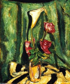 Still Life with Calla Lily and Roses, óleo sobre lienzo de Alfred Henry Maurer, 1925 Art Deco Paintings, Henri Matisse, Modernism, Calla Lily, American Artists, Impressionist, Painters, Flower Art, Still Life