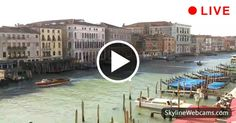 Stunning view of Grand Canal and the historical center of Venice with gondolas passing in live webcam Live Cams, Grand Canal, Stunning View, Old Town, Venice, Old Things, Around The Worlds, Vacation, Places
