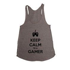 Keep Calm I'm A Gamer Game Video Games Computers Xbox Playstation PC Gaming Nerd Nerds Geek Geeks Unisex Adult T Shirt SGAL3 Women's Racerback Tank