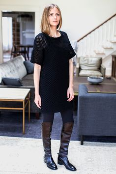 Net Pullover Dress - Jet Wool | Emerson Fry Size XS