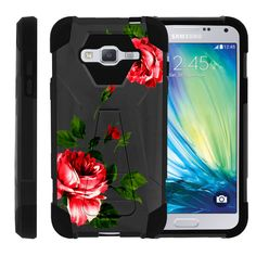 Samsung Galaxy J3 Kickstand Case, Amp Prime Slim Case, Express Prime Case [SHOCK FUSION] Dual Hybrid Shock Resistant Silicone with Kickstand Cover by Miniturtle® - Affectionate Roses