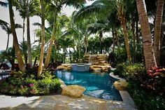 How to Landscape Modest Ideas With Tropical Pool With Stone Waterfall and Circular Pool With Stone Pavers With Big Palm Trees With Plants More