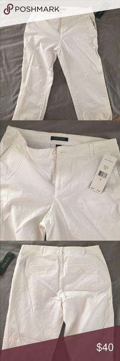 NWT Ralph Lauren White Capris Brand new Ralph Lauren white capris. Roll up the legs for an effortlessly cool summer look! Lauren Ralph Lauren Pants Capris
