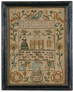 Rare Needlework Sampler, Rebecca, Whitwell, probably Warren, Rhode Island, dated 1785 | Lot | Sotheby's