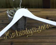 (This is a personalized wedding hanger. A bridal hanger is a hot wedding gifting idea now. The hanger is a top quality solid wood hanger. your choice for the hanger color(choose from cherry, black, natural and white). Diy Wedding Hangers, Bridal Hangers, Wedding Dress Hanger, Name Hangers, Bridal Shower Gifts, Bride Gifts, Personalized Wedding, Mother Of The Bride, Customized Gifts