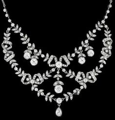 Edwardian 5.75ct Diamond Platinum Necklace