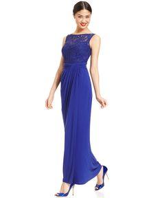R&M Richards Sequin Illusion Lace Gown - Bridesmaids - Women - Macy's